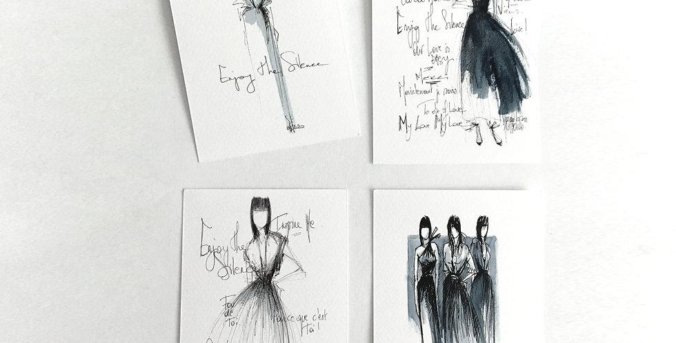 Set Original Hand Drawn Postcards