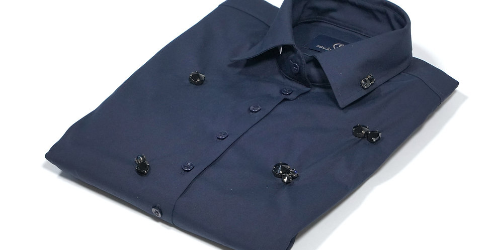 Nina Shirt Crystal Blue Black