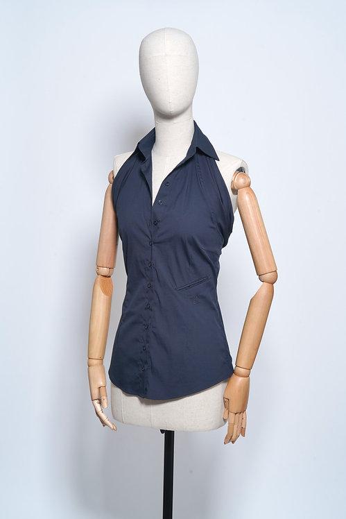 Halter Shirt Blue Black