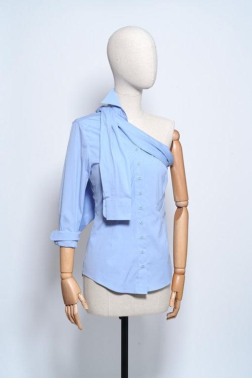 One Shoulder Shirt Light Blue