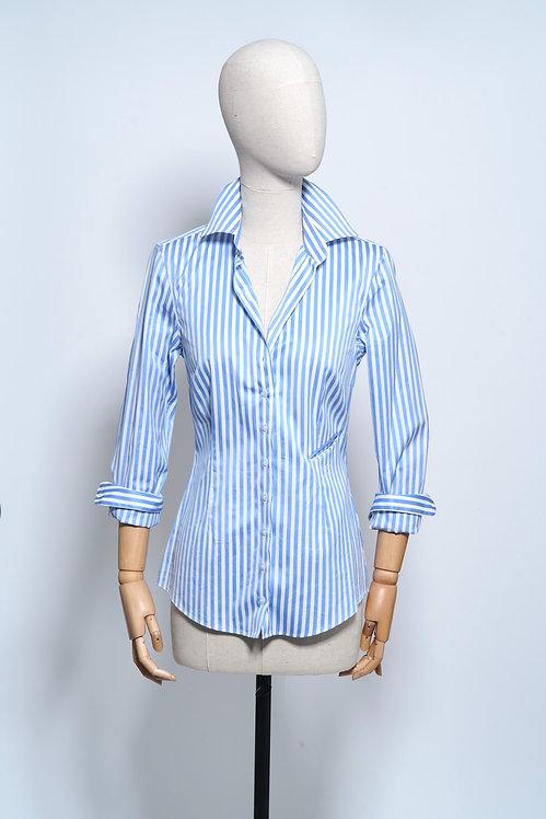 Sarra Shirt Light Blue Stripe Satiné