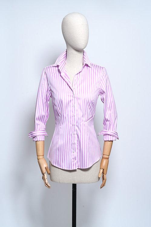 Sarra Shirt Pink Stripe Satiné
