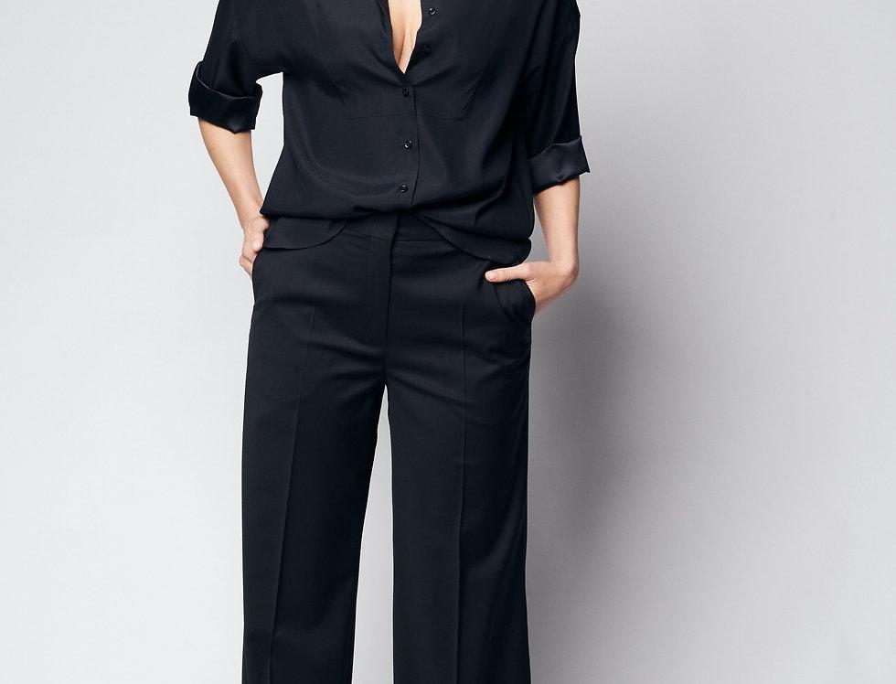 Loose Shirt Silk Blue Black