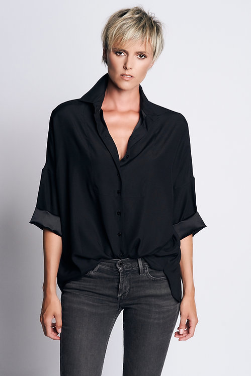 Loose Shirt Silk Black