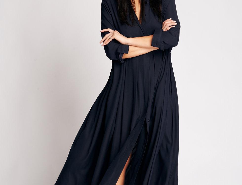 Nina Dress Dark Blue Silk