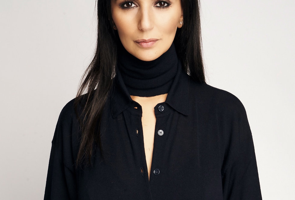 Knit Collar Dark Blue