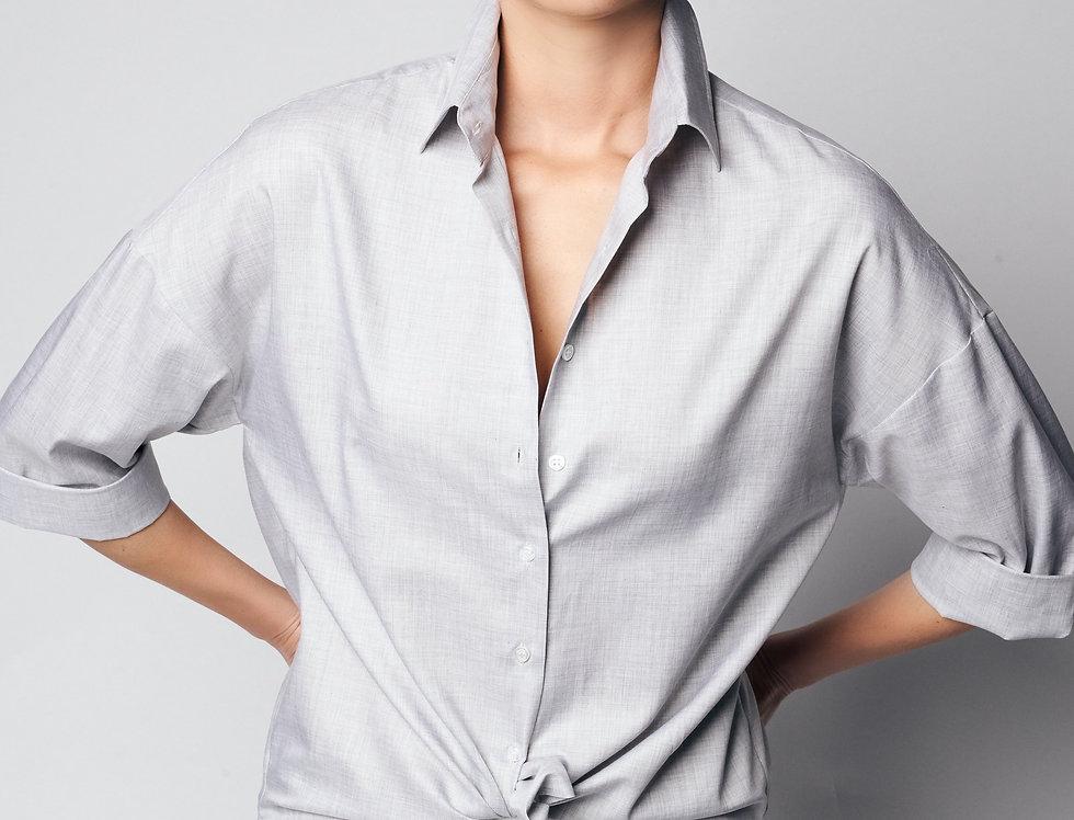 Loose Shirt Grey Cotton