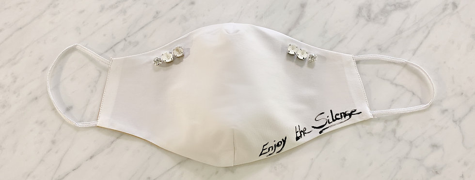 Face Mask White Text/Crystal Stones