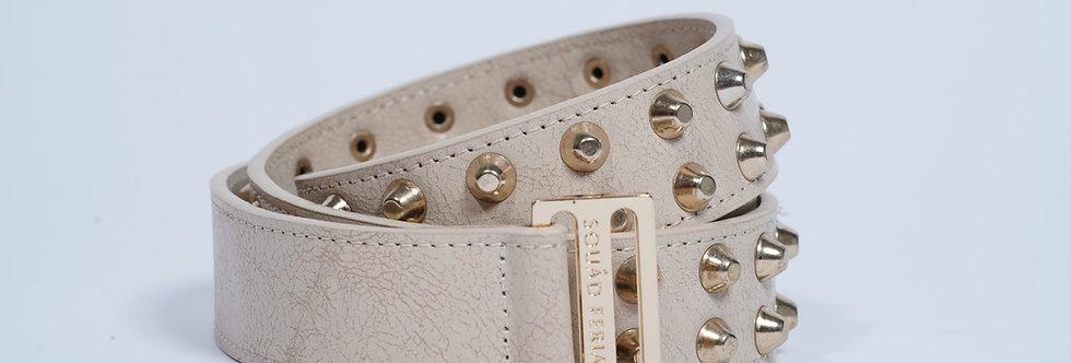 Leather Belt Studs Ivory