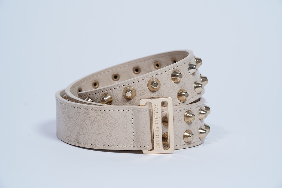 Leather Belt Studs Ivory