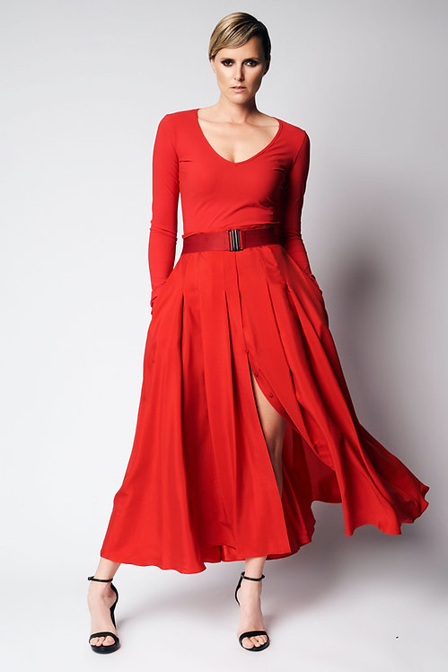 Jersey V-Neck Red