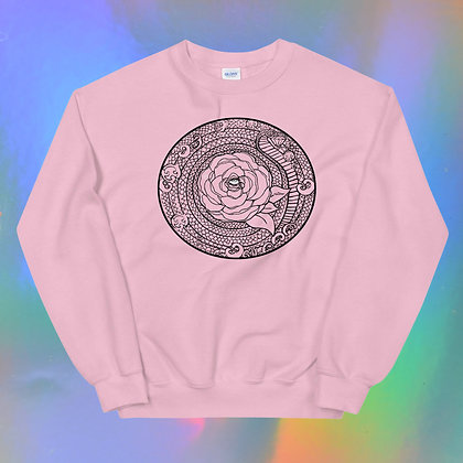 Black Rose Mandala Unisex Sweatshirt by Tesoro Carolina
