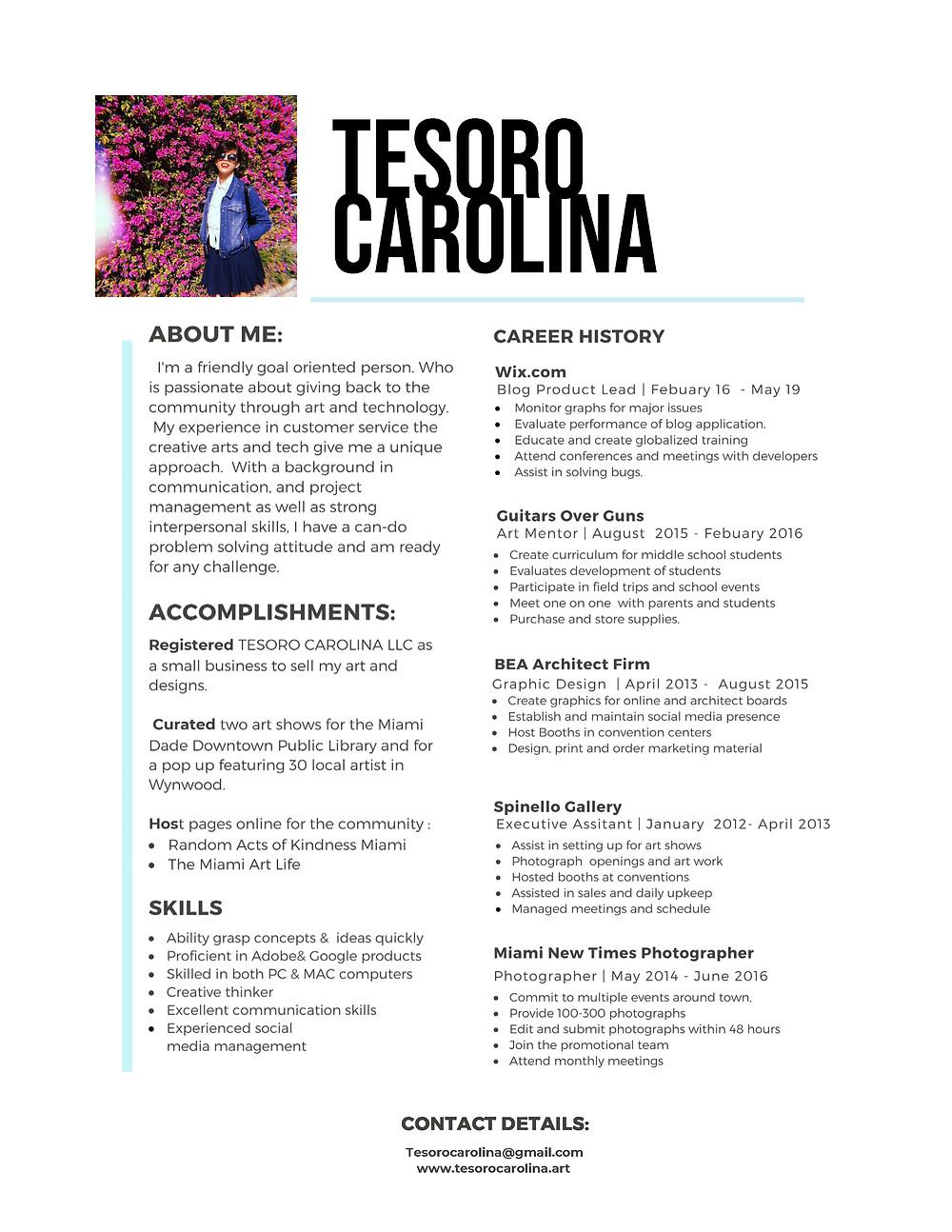 Resume for Tesoro Carolina 2019