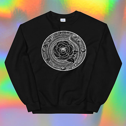 White Rose Mandala Unisex Sweatshirt by Tesoro Carolina
