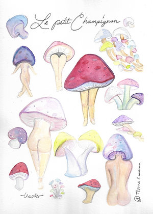 """Le petit champignon""  8x10 Print"