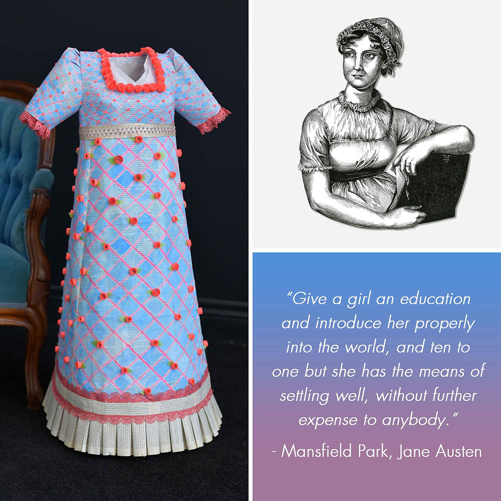 Jane Austen Amy Hood Illustration Liza MacKinnon Regency Paper Dress Pen Portrait