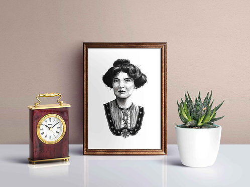 Christabel Pankhurst Suffragette Feminist Art Print Antique Frame