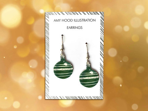 Christmas Green Bauble Earrings Front View