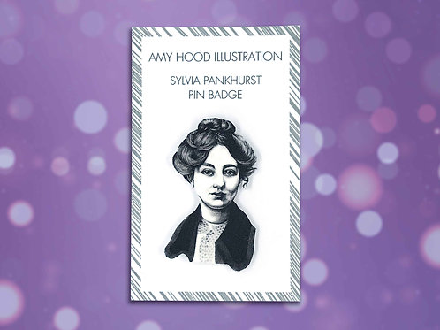 Sylvia Pankhurst Suffragette Pin Badge Front View
