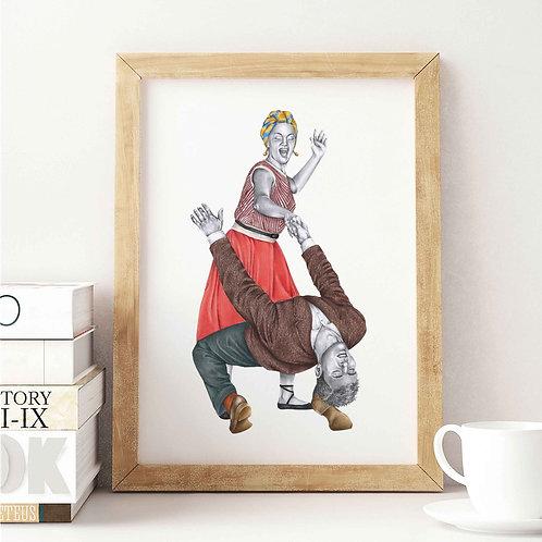 Lindy Hop Art Print Good Rockin' Tonight Wooden Frame