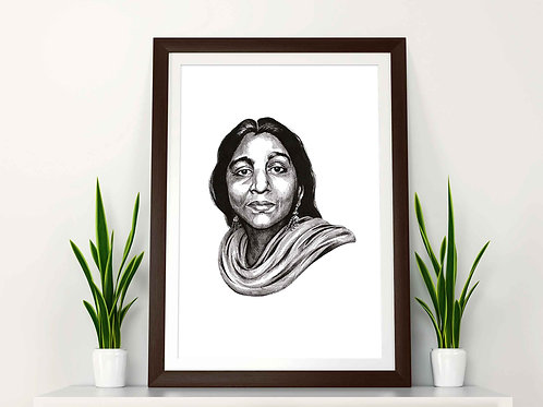 Sarojini Naidu Feminist Art Print Plain Background