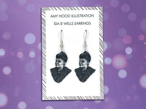 Ida B Wells Suffragette Civil Rights Earrings Front View