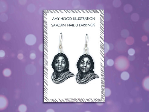Sarojini Naidu Suffragette Civil Rights Earrings Front View
