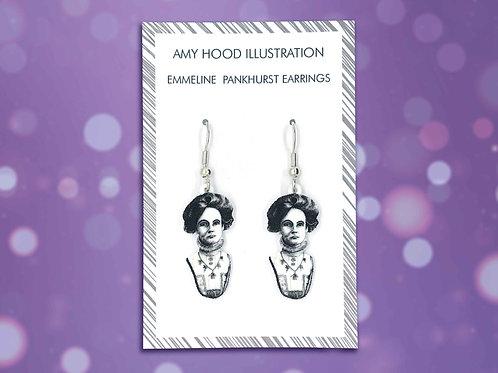 Emmeline Pankhurst Suffragette Earrings Front View