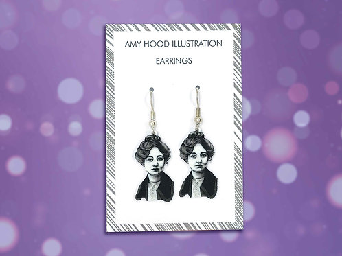 Sylvia Pankhurst Suffragette Earrings Front View
