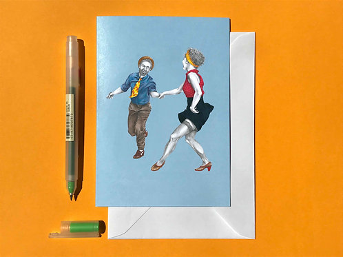 Swingout Lindy Hop Greetings Card with White Envelope