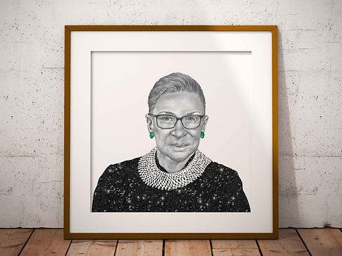 """Ruth Bader Ginsburg 8x8"""" Print Mounted Framed"""