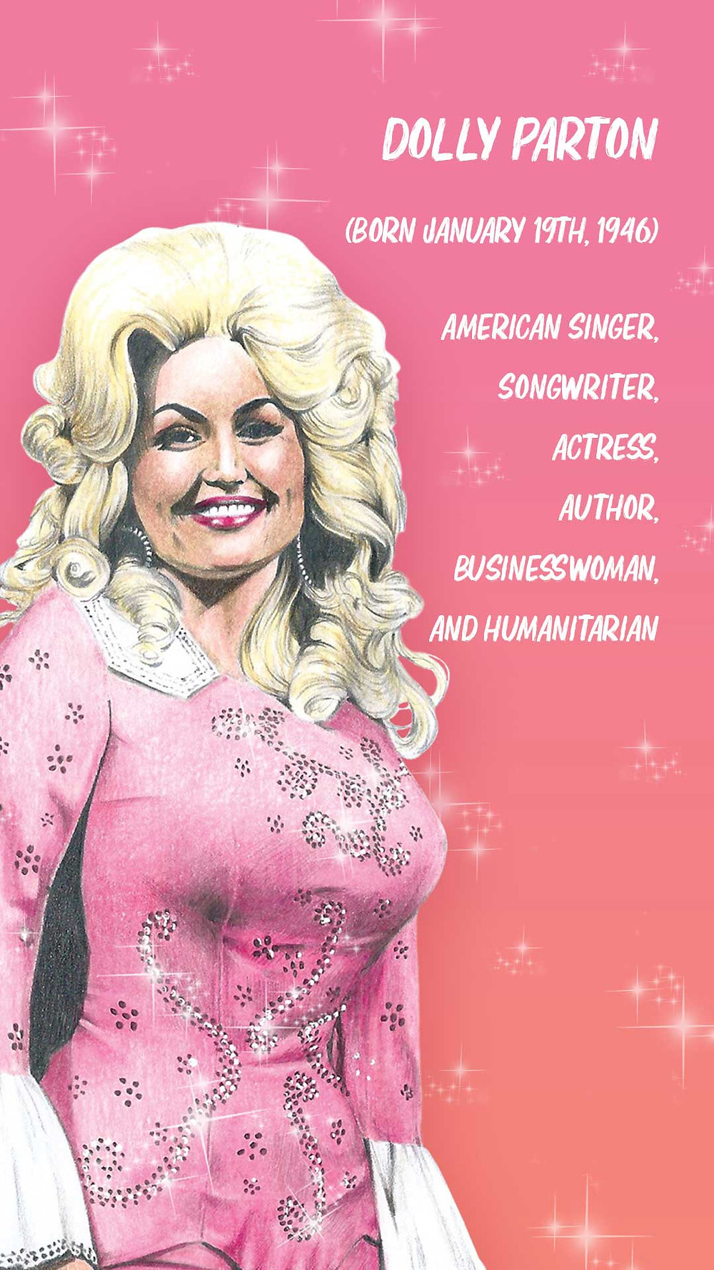 Dolly Parton Amy Hood Illustration Portrait Drawing