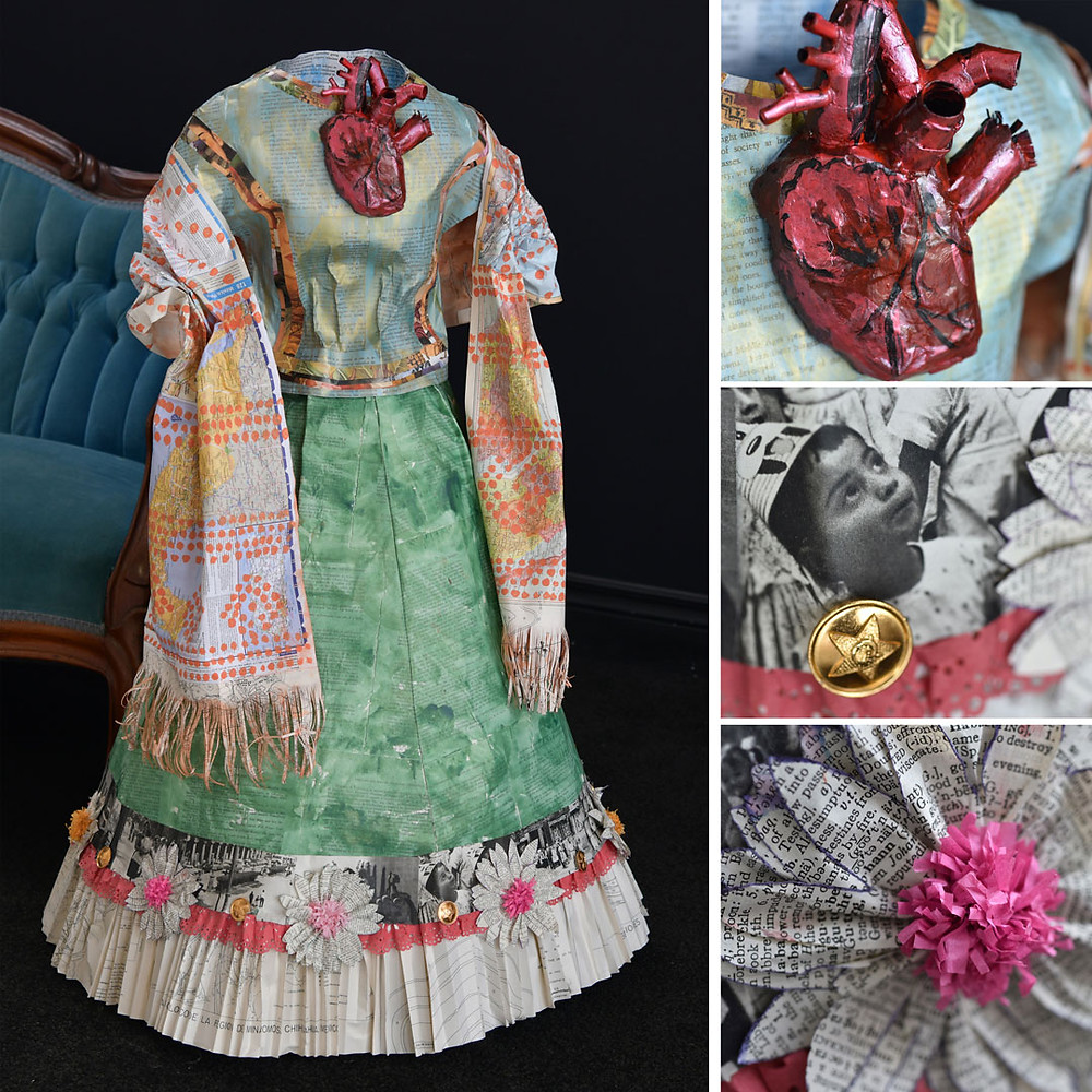 Frida Kahlo Liza MacKinnon Paper Dress Art Mexico