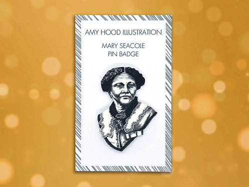 Mary Seacole Feminist Pin Badge Front View