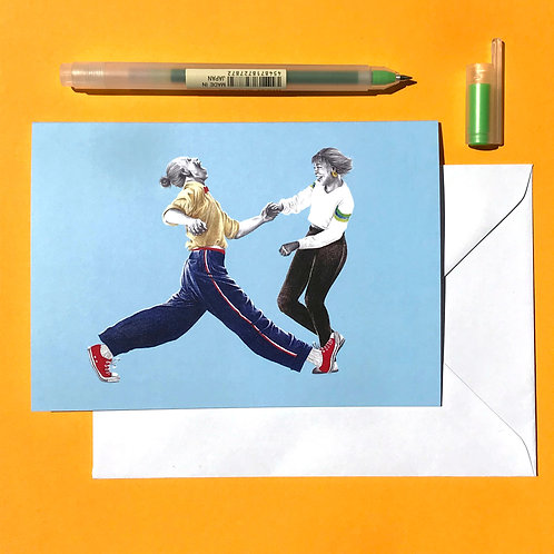 Split & Twirl Lindy Hop Greetings Card with White Envelope