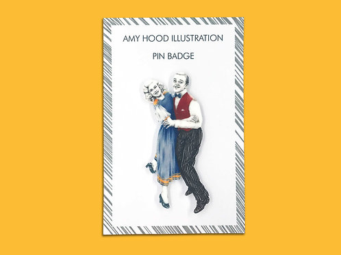 Fred Astaire & Ginger Rogers Lindy Hop Pin Badge Front View