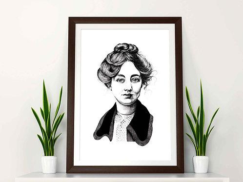 Sylvia Pankhurst Feminist Art Print Plain Background