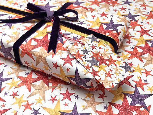 Birthday Stars Gift Wrap Detail with Tag