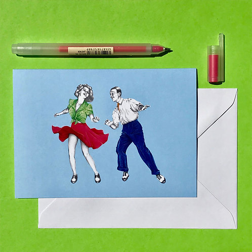 Tacky Annies Lindy Hop Greetings Card with White Envelope