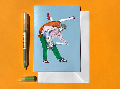 Boy You Turn Me Lindy Hop Greetings Card with White Envelope