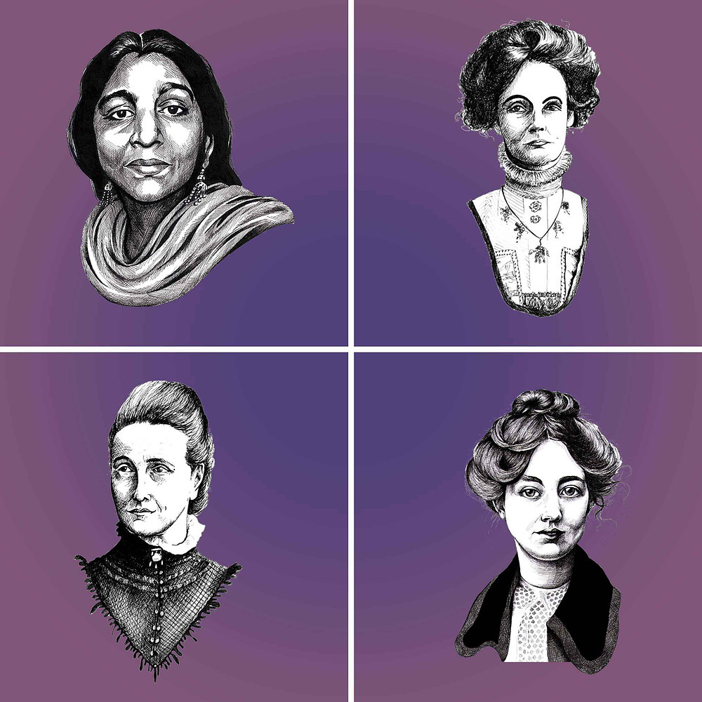 Suffragette Civil Rights Activist Suffragist Sarojini Naidu Emmeline Pankhurst Sylvia Pankhurst Millicent Fawcett Pen Portraits Amy Hood Illustration