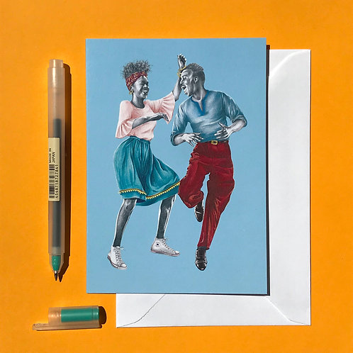 That Friday Feeling Lindy Hop Greetings Card with White Envelope