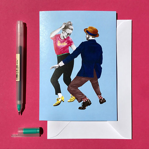 Swivels Lindy Hop Greetings Card with White Envelope