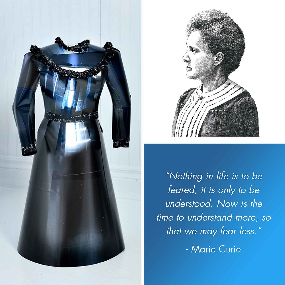 Marie Curie Liza MacKinnon Amy Hood Illustration X-Ray Dress Pen Portrait Quote