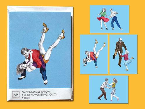 Tacky Annies Lindy Hop Greetings Card Pack 4 Designs