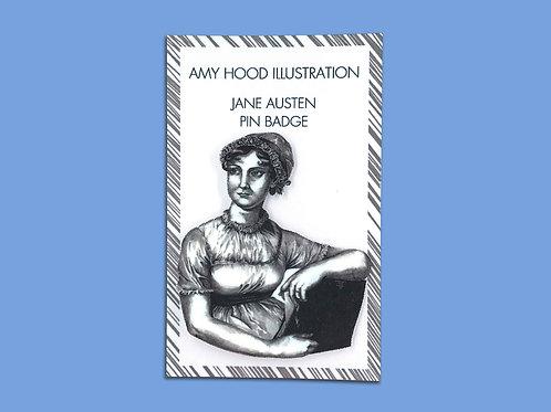 Jane Austen Feminist Pin Badge Front View