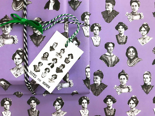 Votes For Women Gift Wrap with Tag Wrapped Present Detail