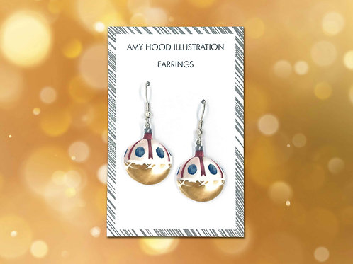 Christmas Gold Bauble Earrings Front View