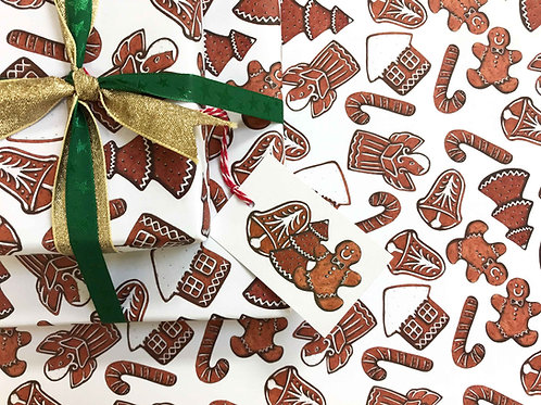 Christmas Gingerbreads Gift Wrap with Tag Detail
