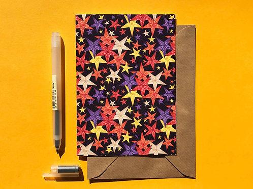 Christmas Star Lanterns Greetings Card with Kraft Envelope